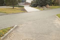 The intersection of paved paths in the Park Stock Photos