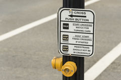 Intersection Pedestrian Crosswalk Button Stock Images