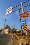 Intersection point in Istanbul. Traffic signs in a crossroad in Istanbul, Turkey Royalty Free Stock Images