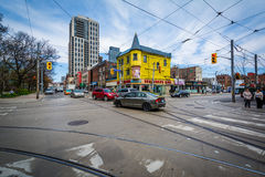 The intersection of Queen Street and Church Street in downtown Toronto, Ontario. Royalty Free Stock Photos