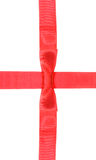 Intersection red ribbon and satin band with bow Royalty Free Stock Image