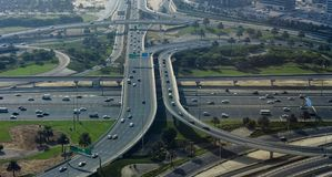Intersection of roads in Dubai city, United Arab Emirates. Aerial view stock image