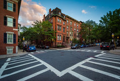 Intersection at sunset in Bunker Hill, Charlestown, Boston, Mass. Achusetts Royalty Free Stock Photography