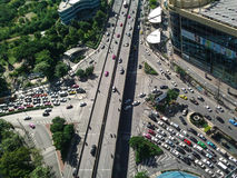 Intersection Traffic jam in bangkok thailand Royalty Free Stock Image