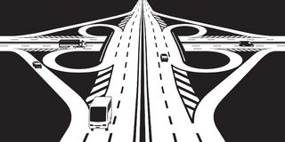Intersection of two highways with vehicles royalty free illustration