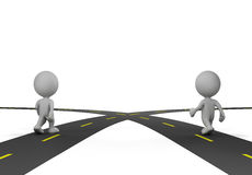 Intersection of two roads. Two people at the crossroads. 3d image. White background Royalty Free Stock Photo
