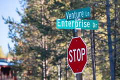 Intersection of Venture lane and Enterprise drive royalty free stock photos