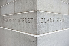 Intersection of Washington and Clark Street Royalty Free Stock Image