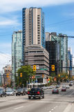 Intersection of West Pender Street and Georgia Street in Vancouver downtown Royalty Free Stock Photography