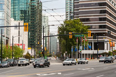 Intersection of West Pender Street and Georgia Street in Vancouver downtown Stock Image