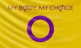 Intersex flag and slogan My body, my choice. stock illustration