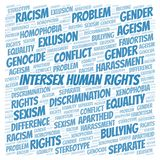 Intersex Human Rights - type of discrimination - word cloud. Wordcloud made with text only vector illustration