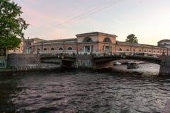 Intersezione del canale di Griboyedov e del fiume di Moika Immagine Stock Libera da Diritti