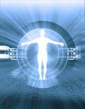 Intersezione del corpo umano e di tecnologia Fotografie Stock