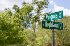 Intersezione del viale di Virgina e del viale del nord dell'altopiano Fotografia Stock