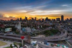 Intersezione dell'autostrada senza pedaggio della città di Bangkok Immagine Stock