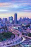 Intersezione della strada principale di paesaggio urbano di Bangkok Fotografia Stock Libera da Diritti