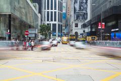 Intersezione occupata in centrale, Hong Kong Fotografia Stock Libera da Diritti