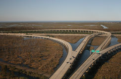 Interstate 10 junction. Aerial view of interstate 10 junction near New orleans Royalty Free Stock Photography