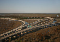 Interstate 10 junction. Aerial view of interstate 10 junction near New orleans Stock Images