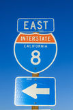 Interstate 8 Sign in California with blue sky Stock Images