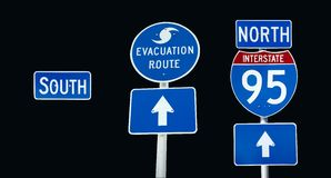 Interstate 95 evacuation. Sign kit for Hurricane/storm evacuation routes and I95 intersate signs.  South included to place over North if you want.  Clipping Royalty Free Stock Images