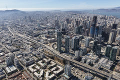 Interstate 80 Aerial in Downtown San Francisco. Royalty Free Stock Photo