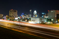 Interstate 35 in Austin Texas at night. I35 Traffic lights in Austin, Texas Stock Image