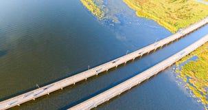 Aerial view of interstate 10 highway bridge