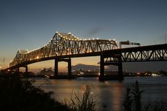 Interstate 10 crossing the Mississippi River in Baton Rouge royalty free stock photo