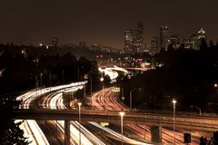 Interstate 5 and downtown skyline, Seattle royalty free stock photos