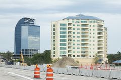 Construction in Orlando, Florida. Interstate 4 east and westbound are undergoing construction to meet the needs as there is a population explosion in Orlando Stock Images