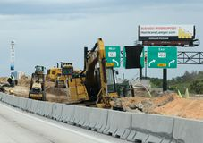 Construction in Orlando, Florida. Interstate 4 east and westbound are undergoing construction to meet the needs as there is a population explosion in Orlando Stock Photos