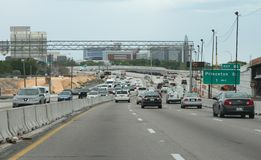 Commuting in Orlando, Florida. Interstate 4 east and westbound are undergoing construction to meet the needs as there is a population explosion in Orlando and Stock Photo