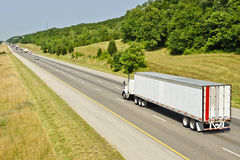 Interstate Freeway With Semi Truck Stock Photography