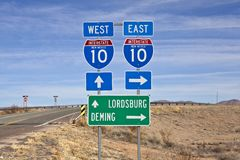 Interstate Highway 10 sign in Southern New Mexico. Interstate 10 sign in southern New Mexico's vast empty desert royalty free stock photography
