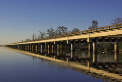 Interstate Highway Bridge crossing a lake Royalty Free Stock Images