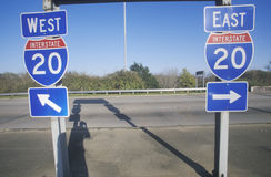 Interstate Highway 20 East and West entrance in Southeast USA royalty free stock image