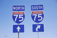 Interstate Highway 75 North and South Freeway signs Stock Image