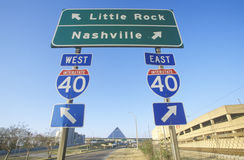 Interstate Highway 75 North and South Freeway signs to Nashville or Little Rock Royalty Free Stock Photo