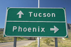 A interstate highway sign in Arizona directing traffic to Tucson and Phoenix, AZ Stock Image