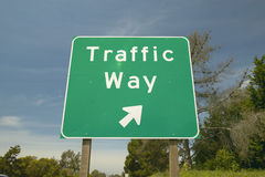 A interstate highway sign on Route 101 displaying �Traffic Way� in Southern California Stock Photos