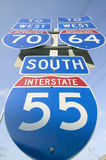 Interstate highway signs show the intersection of Interstate 70, 64 and 55 in East St. Louis near St. Louis, Missouri Royalty Free Stock Photo