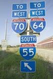 Interstate huvudvägtecken arkivbilder
