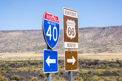 Interstate I40 and Route 66 combined sign New Mexico, USA. Stock Images