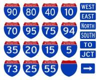 Interstate. Longest importent interstate america sign traffic Stock Photo