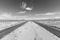 Interstate 15 between Los Angeles and Las Vegas Black and White Royalty Free Stock Images
