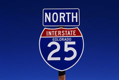 Interstate road sign in Colorado Royalty Free Stock Images
