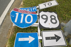 Interstate road signs blown down from Hurricane Royalty Free Stock Photography