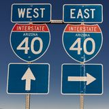 Interstate 40 sign points to East and West, Arizona. Sept. 13, 2018, USA - Interstate 40 sign points to East and West, Arizona stock photography